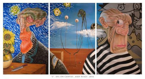 "Title: ""3""Technique: Oil on canvasSize: 210 *110Aref Niazi , 2016"