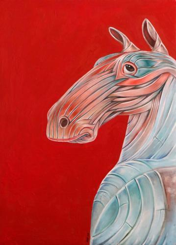 Title: HorseAref Niazitechnique: on canvassize 54×76 cm2017